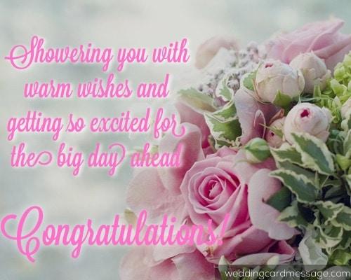 bridal shower congratulations message