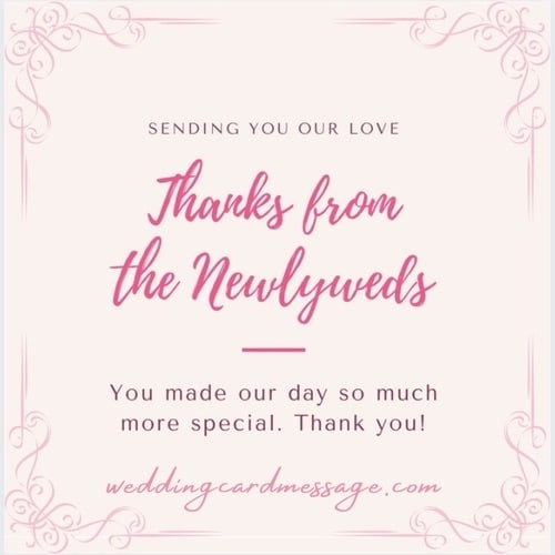 wedding thank you card wording example