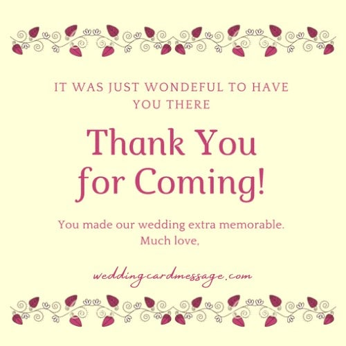 wedding thank you for coming wording sample