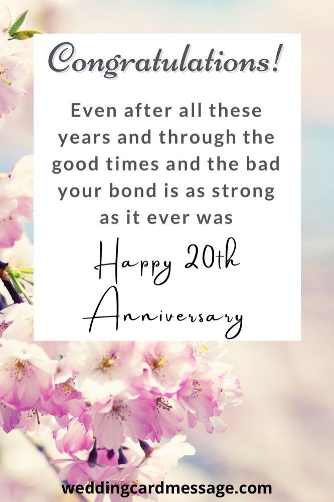 20th anniversary congratulations message