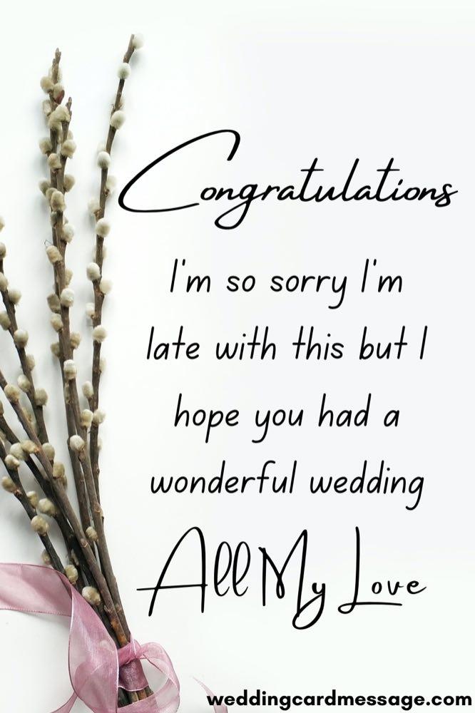 belated wedding congratulations