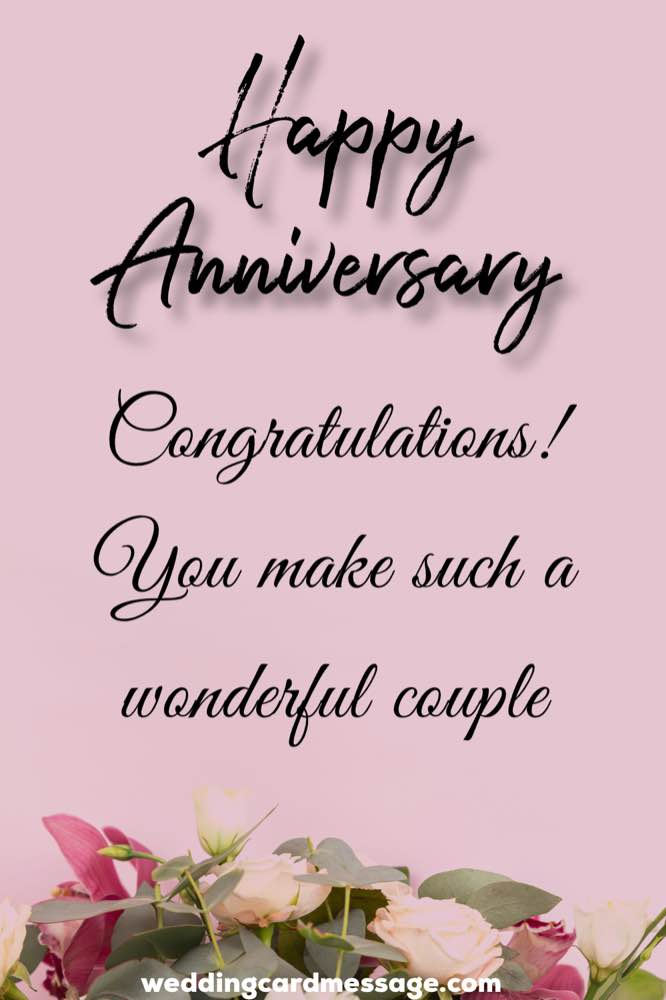 Congratulations and happy anniversary