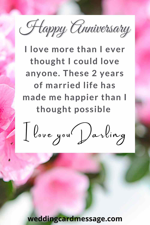 happy second anniversary quote