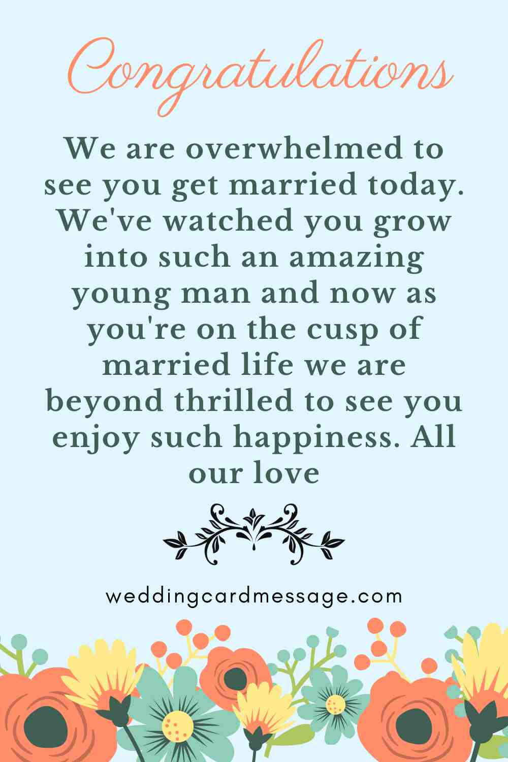 wedding message for a son